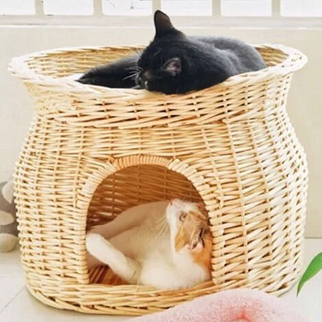 Double Cat/Kitten/Puppy Bed Natural Woven Seagrass Twin Basket/Pod/Igloo/Cave, Beige