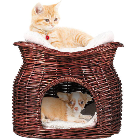 Double Cat/Kitten/Puppy Bed Natural Woven Seagrass Twin Basket/Pod/Igloo/Cave, Brown
