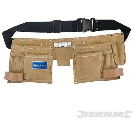Double ceinture-sacoche en daim à outils/clous, 11 poches, 300 x 200 mm