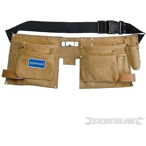 Double ceinture-sacoche en daim à outils/clous, 8 poches, 300 x 200 mm