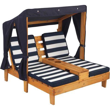 Double Chaise longue enfant avec porte-gobelets Blanc et bleu