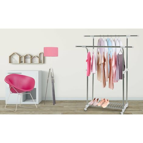 Double Clothes Garment Rail Extendable Coat Hanging Rack Storage Adjustable