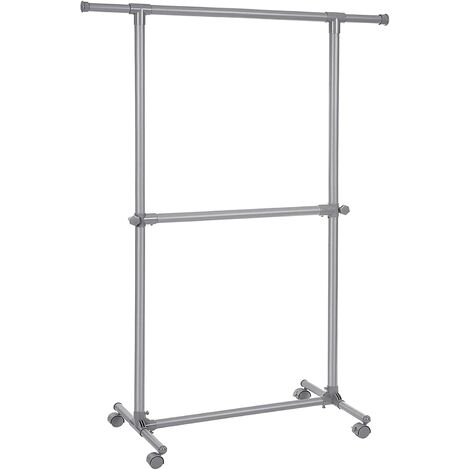 Double Clothes Rail, Clothes Rack, Extendable Garment Rack with Castors, Sturdy Structure, Max Static Load 60 kg, 102-164 x 48.5 x 198 cm, for Clothes Scarves, Grey LLR14GY