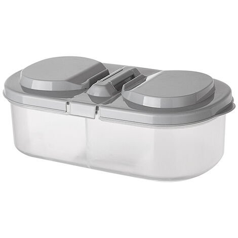 Double-compartment sealed kitchen grocery with lid, multifunctional plastic storage box for kitchen refrigerator