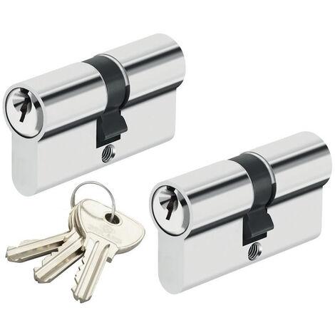 Double cylindre de porte 30 x 30 mm Paire de cylindres de sécurité s'entrouvrant 3 clés
