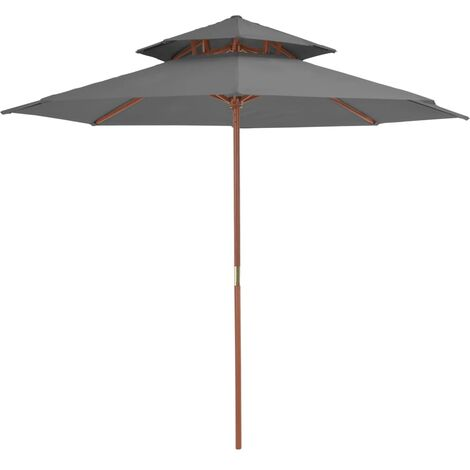 Double Decker Parasol with Wooden Pole 270 cm Anthracite