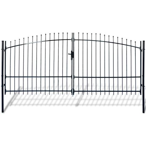 Double Door Fence Gate with Spear Top 400 x 225 cm