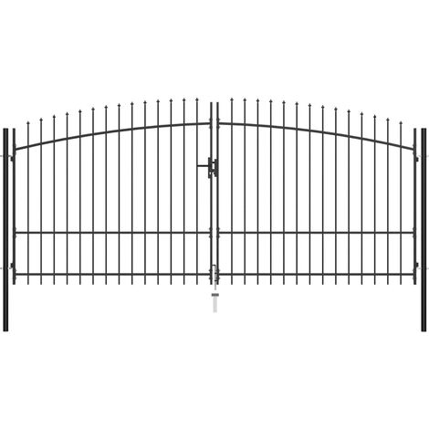 Double Door Fence Gate with Spear Top 400x225 cm - Black