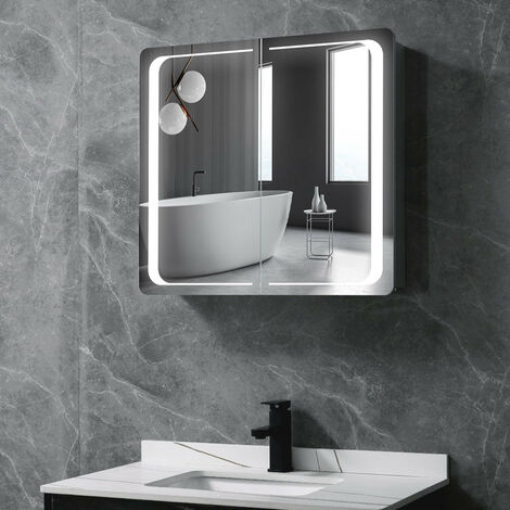 Double Door LED Illuminated Bathroom Mirror Cabinet 650(W)*600(H)*135(D)mm