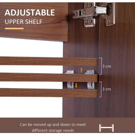 Double Door Wall Mounted Glass Mirror Cabinet Bathroom Waterproof 63L x 60H x 13.5D cm kleankin