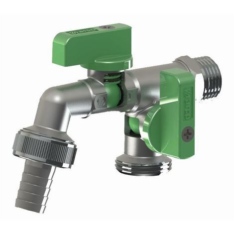 "Double duo outlet garden outside outdoor bib tap valve 1/2"" x 3/4"" x 3/4"" bsp"