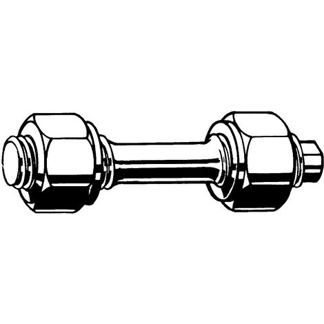 Double end stud with reduced shank with 2 hexagon nuts DIN 2510 L/NF Steel 21CrMoV5-7+QT (1.7709)/25CrMo4+QT (1.7218) Plain