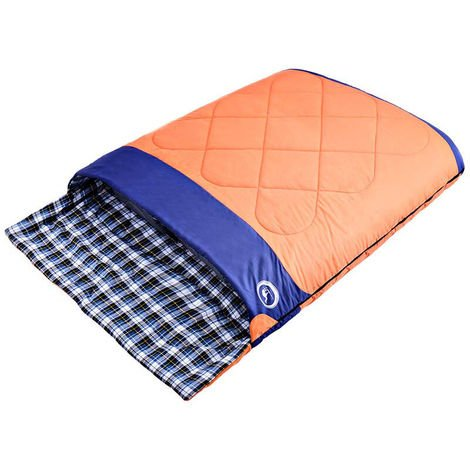 Double-Extra Large Queen Sleeping Bag Convertible into 2 Single Beds-3 Seasons