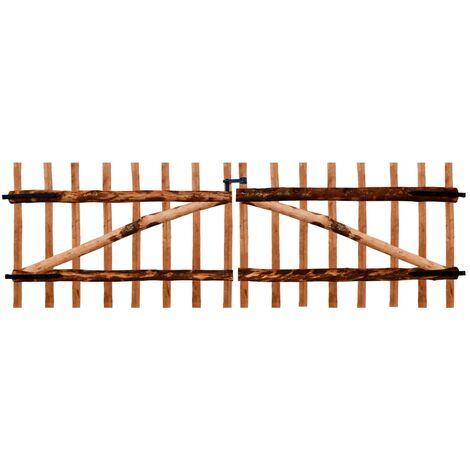 Double Fence Gate Impregnated Hazel Wood 300x100 cm