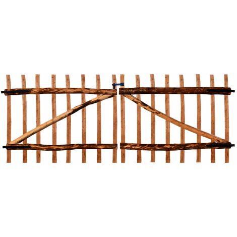 Double Fence Gate Impregnated Hazel Wood 300x120 cm