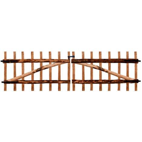 Double Fence Gate Impregnated Hazel Wood 300x90 cm - Brown