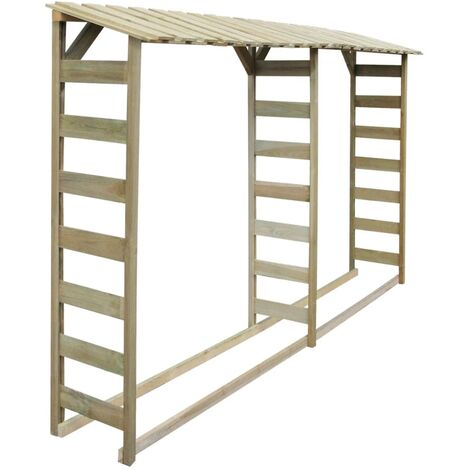 Double Firewood Storage Shed 300x44x176 cm Impregnated Pinewood