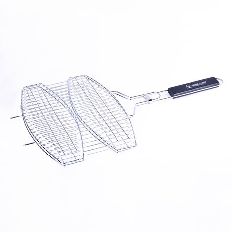 Double Fish Grilling Basket Non-Stick Barbecue Basket Detachable Heavy Duty BBQ Tools Grill Basket for Meats Vegetables Steak