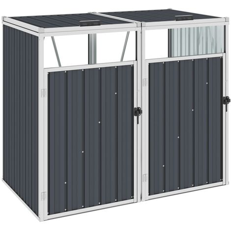 Double Garbage Bin Shed Anthracite 143x81x121 cm Steel