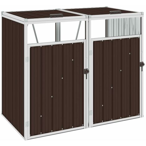 Double Garbage Bin Shed Brown 143x81x121 cm Steel