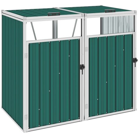 Double Garbage Bin Shed Green 143x81x121 cm Steel