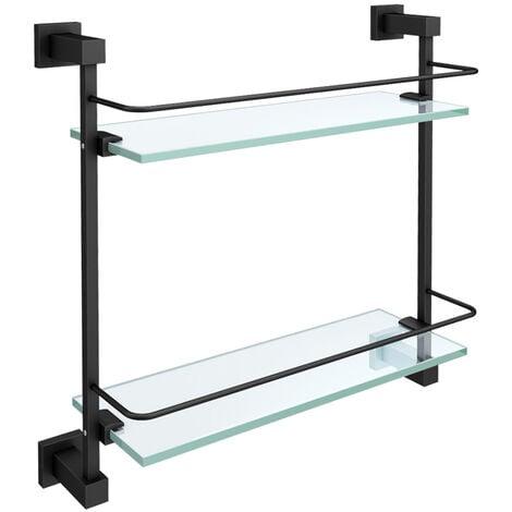 "main image of ""Double Glass Bathroom Shelf Matte Black"""