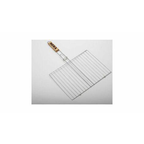 Double grille barbecue rectangulaire - 30 x 40 cm - Métal chromé