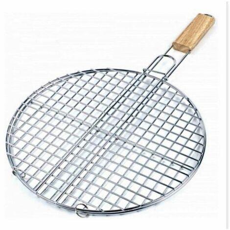 Double grille barbecue ronde - D 40 x H 66 cm - Métal chromé - Livraison gratuite
