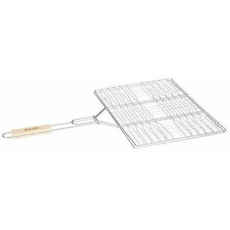 Double grille rectangulaire quadrillée pour barbecue - 30 x 40 cm - Métal chromé