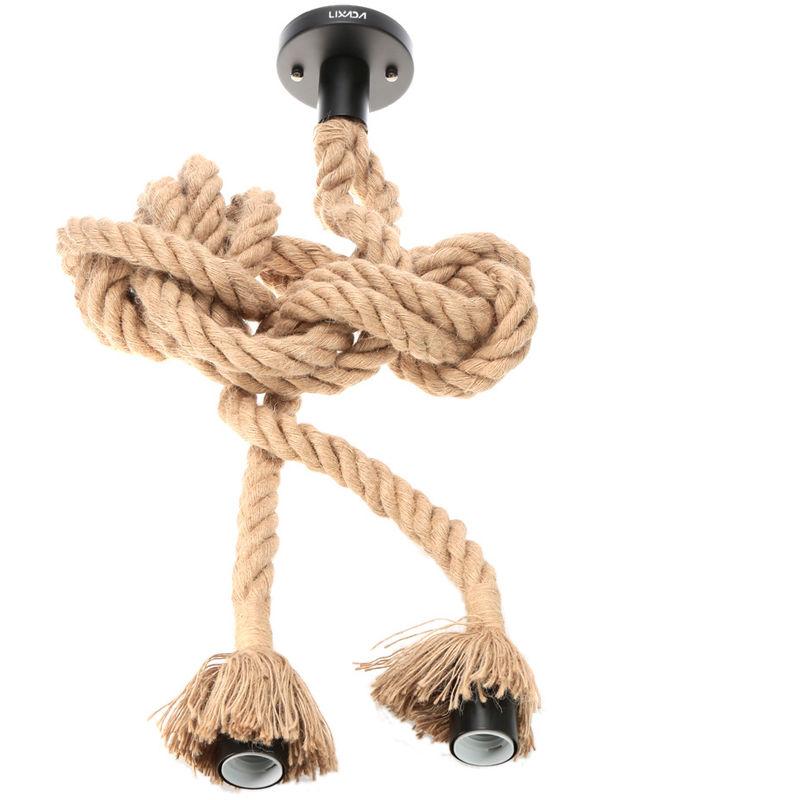 Image of Double Head Vintage Hemp Rope Hanging Pendant Light Lamp 50cm AC110V E26/E27