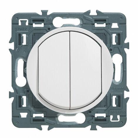 Double interrupteur ou va-et-vient Céliane Soft 10A Blanc (099721)