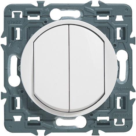 Double interrupteur ou va-et-vient Céliane Soft - 10A - Blanc