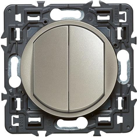 Double interrupteur ou va-et-vient Céliane Soft 10A Titane (099771)
