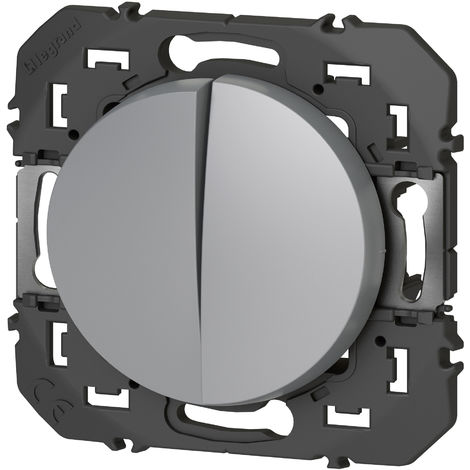 Double Interrupteur ou va-et-vient Dooxie - 10A - 250V - Aluminium - Legrand