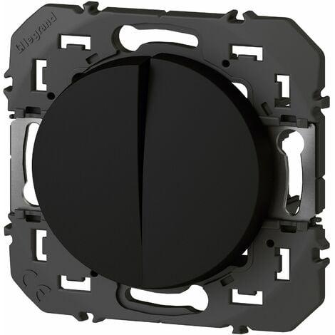 Double Interrupteur ou va-et-vient, Dooxie - 10A - AX175 - 250V - Noir Legrand