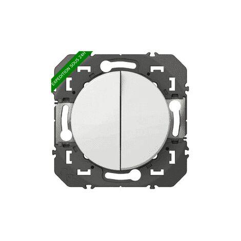 Double interrupteur ou va-et-vient Dooxie Blanc ou Alu / Legrand