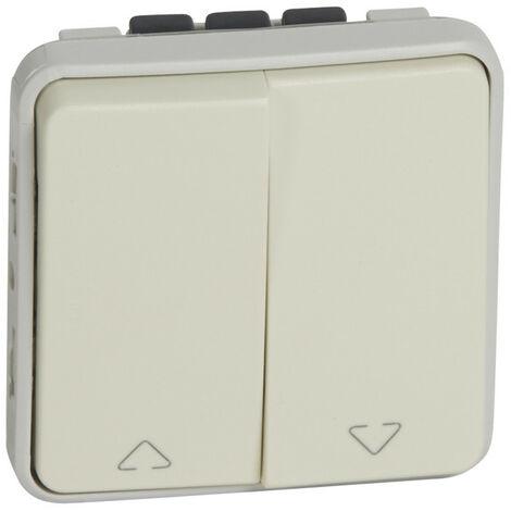 Double interrupteur ou va-et-vient pour volets roulants Plexo composable IP55 10A 250V blanc (069629)