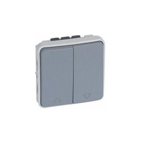 Double interrupteur pour volets roulants composable IP55 10AX 250V - Plexo - Gris - 069538 - Legrand