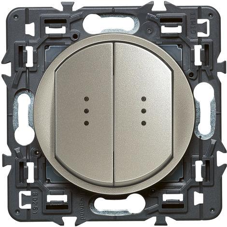Double interrupteur témoin (voyant fourni) Céliane Soft - 10A - Titane
