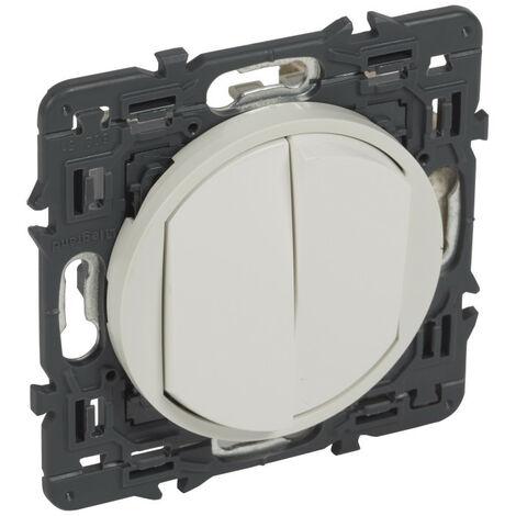 Double interrupteur va-et-vient Céliane 10 AX - Complet - Blanc - Legrand