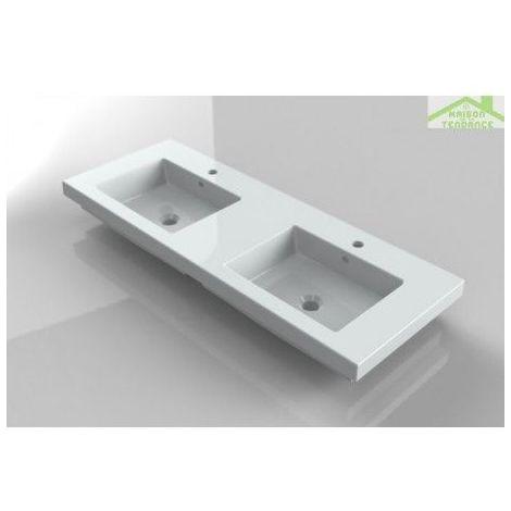 Double lavabo rectangulaire blanc en céramique 121x45 cm