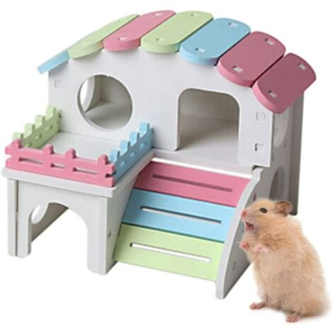 Double-Layer Hamster House Villa Wooden Toy, Hamster Nest Small Colorful Pet PVC House Funny Hiding Exercise Hut Playground Nest (L)