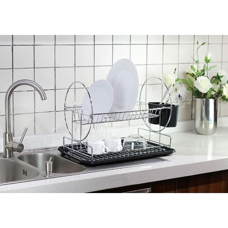 Double Layer Kitchen Drainer with Cutlery Tray, Cup Holder + Chopstick Holder 42 * 24 * 36cm