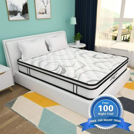 """main image of """"Double mattress 10 inches, boxed memory foam and built-in spring mixed mattress, medium hardness, sports isolation, breathable and deco.ukpression mattress, risk-free 100 night trial."""""""