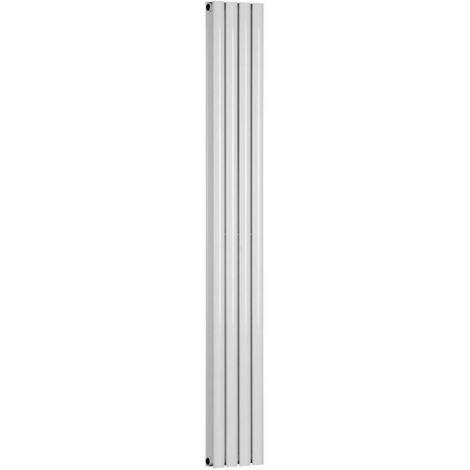 Double Oval Tube 1800 x 240 White Central Heating Designer Column Radiator