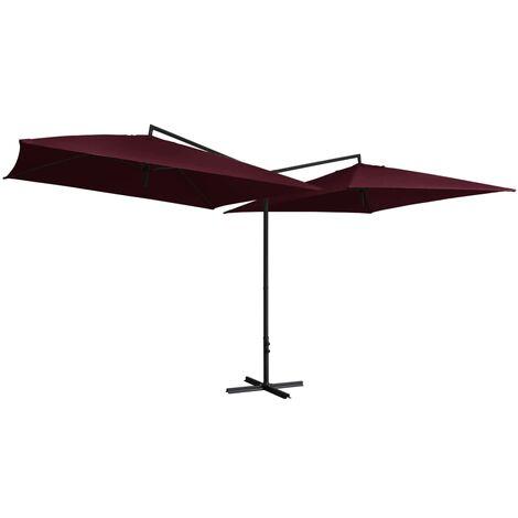 Double Parasol with Steel Pole 250x250 cm Bordeaux Red
