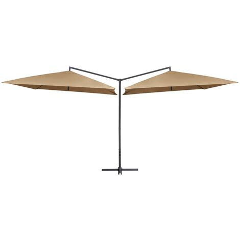 Double Parasol with Steel Pole 250x250 cm Taupe