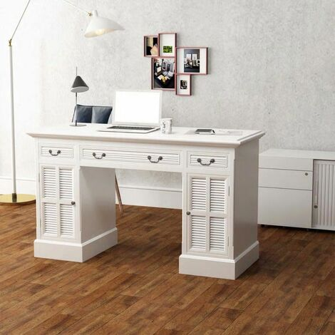 Double Pedestal Desk White 140x48x80 cm
