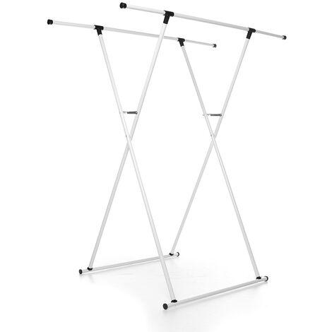 Double Pole Balcony Garment Dry Shelf Heavy Duty Clothes Hanger Rail Rack 152x80x65cm White