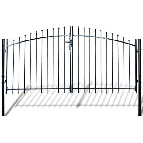Double portail avec haut sous forme de lance 300 x 200 cm